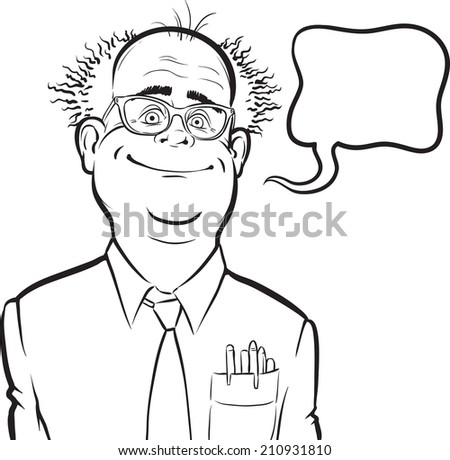 whiteboard drawing - cartoon smiling mad professor with speech bubble - stock photo