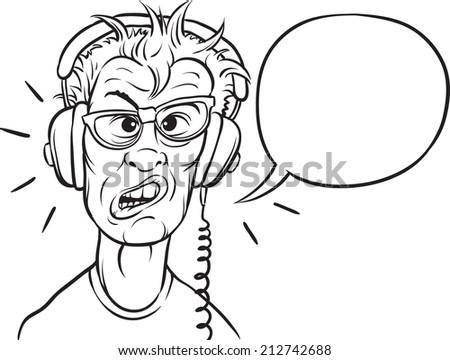 whiteboard drawing - nerd with headphones - stock photo
