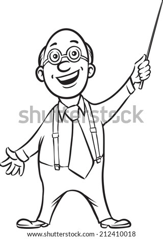 whiteboard drawing - smiling professor with pointer - stock photo