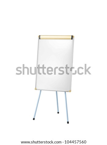 Whiteboard isoloated on white - stock photo
