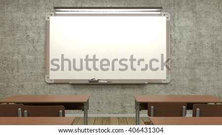 Whiteboard lamp is illuminated in the classroom with desks,the 3D illustration  - stock photo