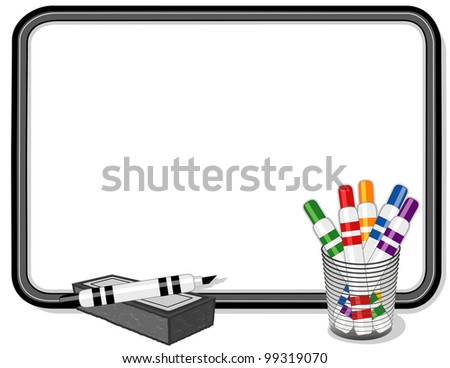 Whiteboard, multicolor marker pens, eraser. Copy space to add your own text, notes or drawings for school, home, business and office projects. - stock photo