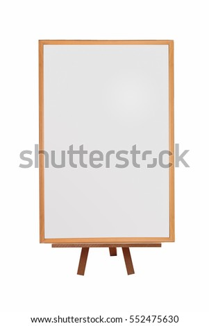whiteboard with easel on isolated background
