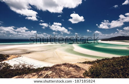 Whitehaven Beach in the Whitsundays Archipelago, Queensland, Australia - stock photo