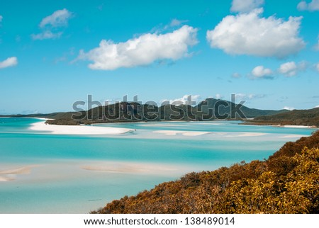Whitehaven beach lagoon at national park queensland australia tropical coral sea world heritage. - stock photo