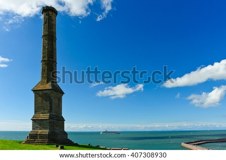 Whitehaven Candlestick and cruise ship, Cumbria