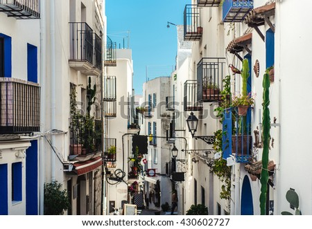 Whitewashed houses of Peniscola. Costa del Azahar, province of Castellon, Valencian Community. It is a popular tourist destination in Spain