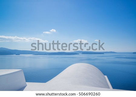 Whitewashed rooftops of Santorini island Greece
