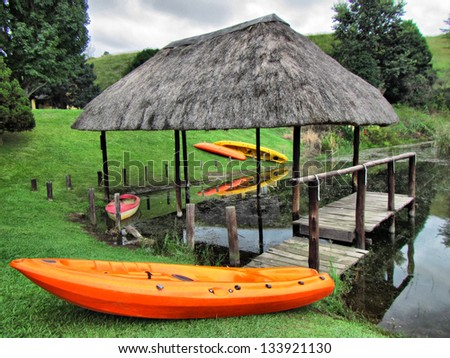Whitewater foats on lawn. Shot in Monks Cowl area, Drakensberg Mountains, South Africa. - stock photo