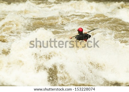 WHITEWATER KAYAKING, LEVEL FIVE DIFFICULTY LEVEL  - stock photo