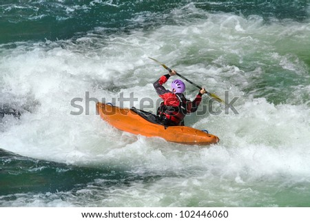 Whitewater rafting in the rapid  river - stock photo