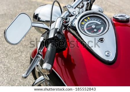 WHITSTABLE, KENT/UK - SEPTEMBER 1 : Close-up of a motorcycle parked in Whitstable on September 1, 2013