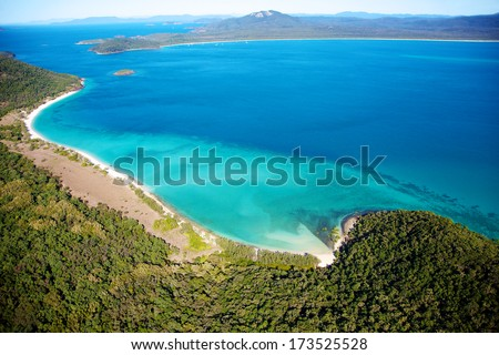 Whitsundays aerial landscape view in Queensland Australia - stock photo