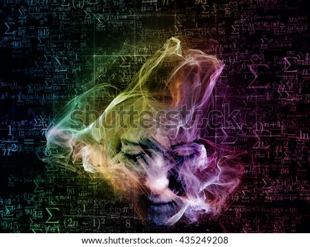 Who Are We series. Abstract design made of surreal human portrait, fractal and mathematical patterns on the subject of philosophy, religion, math, science, technology and education - stock photo