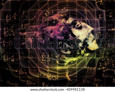 Who Are We series. Composition of surreal human portrait, fractal and mathematical patterns suitable as a backdrop for the projects on philosophy, religion, math, science, technology and education - stock photo
