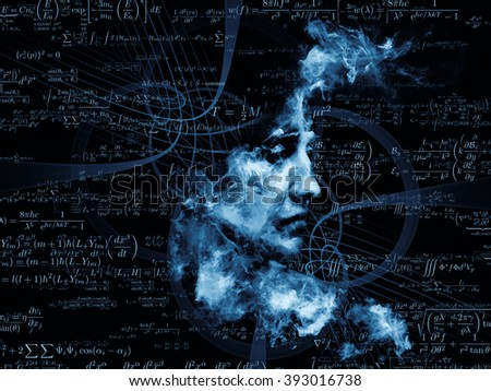Who Are We series. Composition of surreal human portrait, fractal and mathematical patterns with metaphorical relationship to philosophy, religion, math, science, technology and education - stock photo