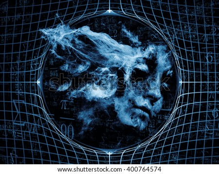 Who Are We series. Design made of surreal human portrait, fractal and mathematical patterns to serve as backdrop for projects related to philosophy, religion, math, science, technology and education - stock photo