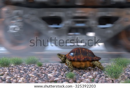 Who's faster. Railway track and train with running turtle. Travel  technology concept
