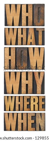who, what, how, why, where, when, questions  - brainstorming or decision making concept - a collage of isolated words in vintage letterpress wood type arranged in a tall column - stock photo