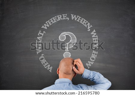 Who what where when why how on black blackboard - stock photo