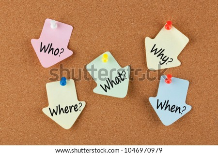 Who, why, what, when and where written on color reminder notes with pin on cork board. Five Ws. Business concept.