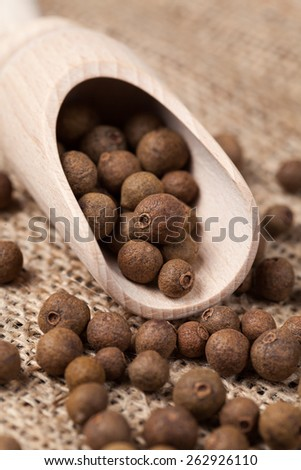 Whole allspice pepper seeds in a wooden spoon on vintage textile background - stock photo
