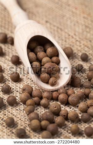 Whole allspice pepper super food spice in a wooden spoon on vintage textile background - stock photo