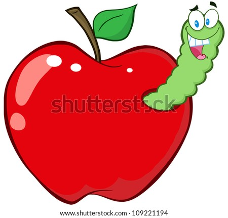 Whole And Cut Green Apple. Raster Illustration.Vector version also available in portfolio. - stock photo