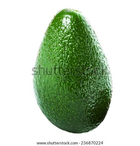 Whole Avocado isolated on white background. Fresh green Avocado fruit macro - stock photo