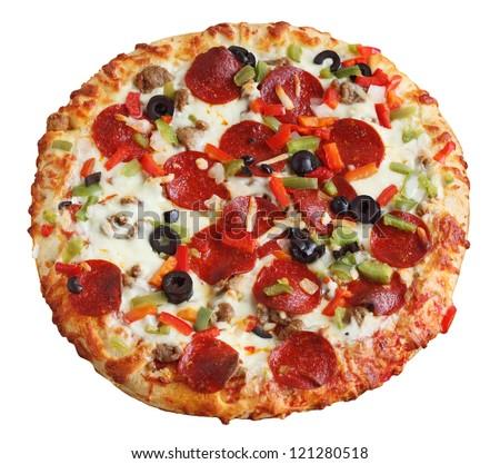 Whole baked pizza isolated on white background - stock photo