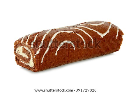 whole cake roll isolated on white background - stock photo