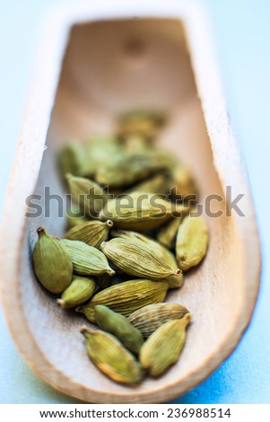Whole cardamom in wooden spoon - stock photo