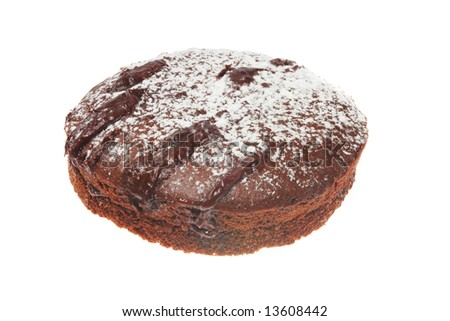 Whole chocolate sponge cake isolated on white