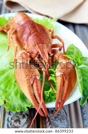 Whole cooked lobster with salad garnish on a plate - stock photo