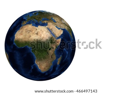 Whole earth globe view focus on Africa