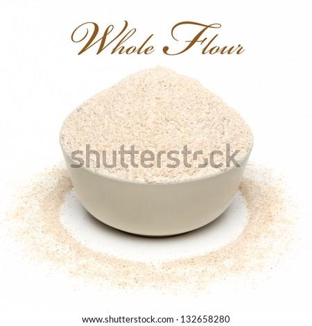 Whole Flour In Bowl - stock photo