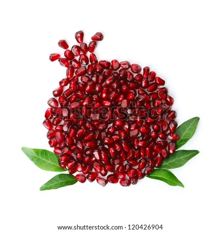 Whole fruit shaped pomegranate seeds - stock photo