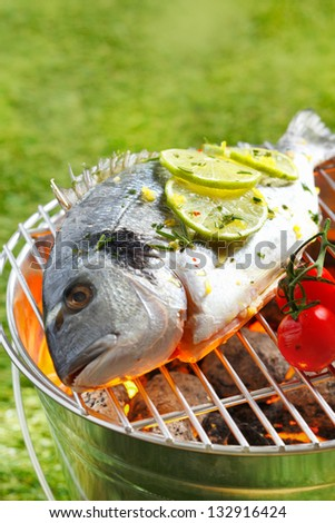 Whole gilthead breem garnished with slices of lemon grilliing over the coals on an outdoor barbecue - stock photo