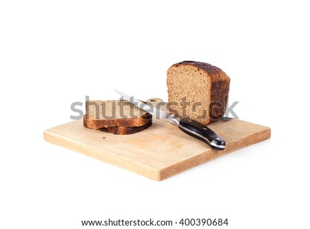 whole grain bread isolated on white background - stock photo