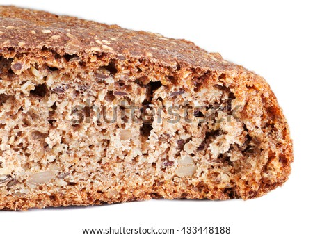 Whole grain bread isolated on white with clipping path - stock photo