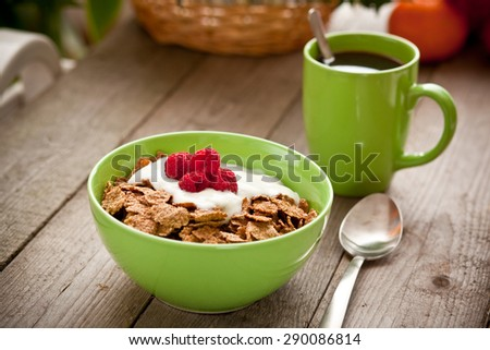 Whole grain cereals for breakfast - stock photo