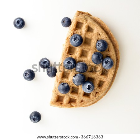Whole grain waffle with blueberries