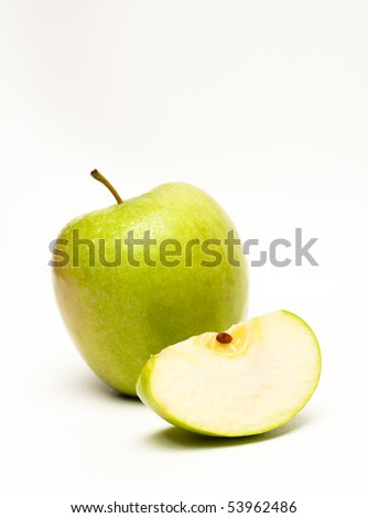 Whole Green Apple and Slice
