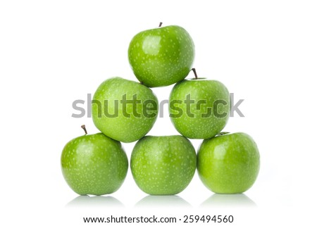 Whole green apples isolated on white background.  - stock photo