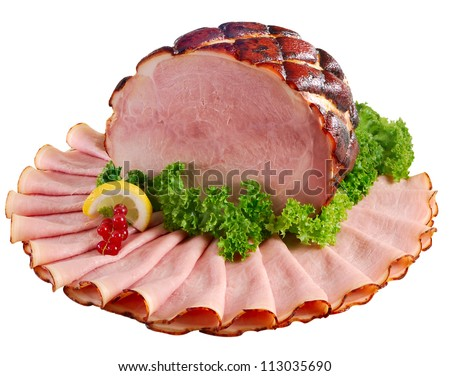 Whole ham honey-baked and orange glazed displayed with slices. Isolated on white. - stock photo