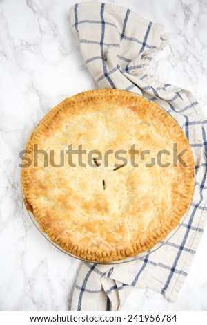Whole Homemade Pie with Flaky Buttery Crust - stock photo