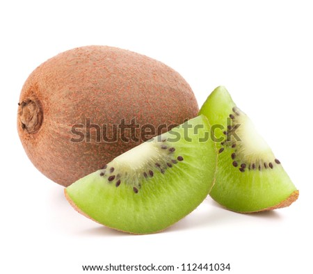 Whole kiwi fruit and his segments isolated on white background cutout - stock photo