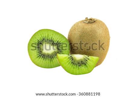 Whole kiwi fruit and his sliced segments isolated on white background - stock photo