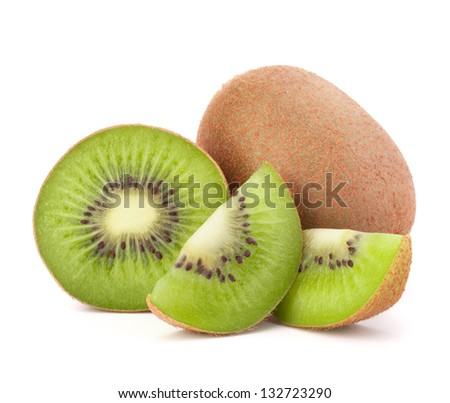Whole kiwi fruit and his sliced segments isolated on white background cutout - stock photo