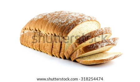 Whole loaf of bread isolated on white